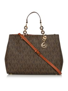 Michael Kors Cynthia brown logo tote bag