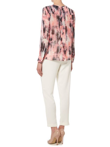 Ellen Tracy Multi pleat keyhole blouse
