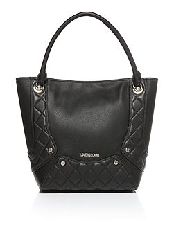 Quilted edge black tote bag
