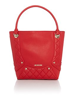 Quilted edge red tote bag
