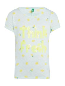 Girls Lemon Print T-shirt With Sequin Detail