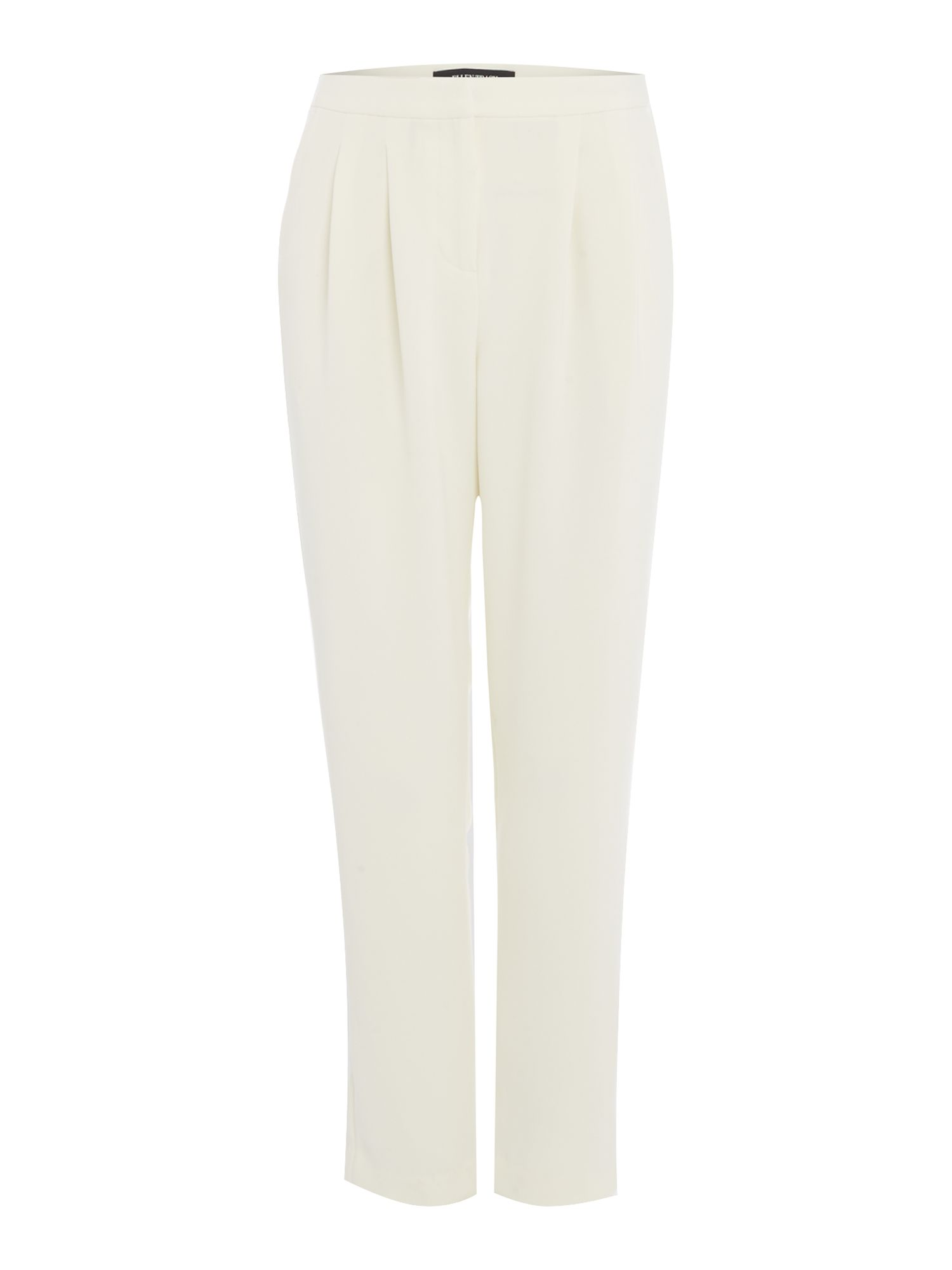 Ellen Tracy Pleated front tapered leg trouser, Off White