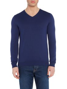 Benetton Long Sleeve V-neck Cotton Jumper
