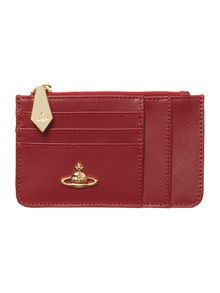 Pouch red zip top purse