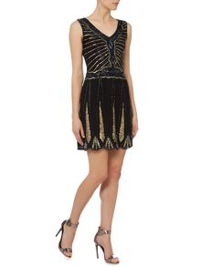 Lace and Beads Sleevelses Embellished Flapper Shift Dress
