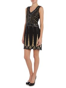 Sleevelses Embellished Flapper Shift Dress