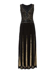 Sleeveless Embellished Flapper Maxi Dress