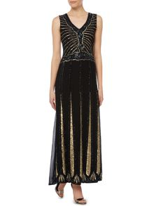 Lace and Beads Sleeveless Embellished Flapper Maxi Dress