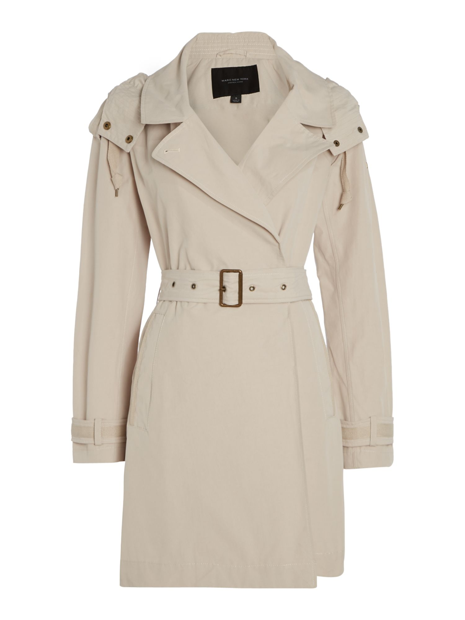 Andrew Marc BROOKE trench coat with hood, White