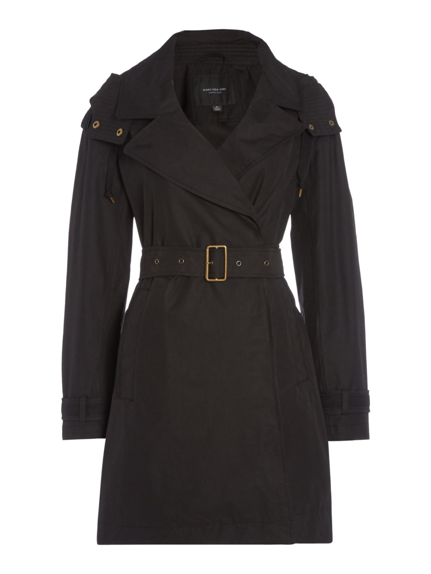 Andrew Marc Brooke Trench Coat With Hood, Black