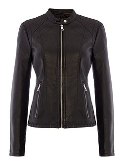 PU jacket with front zip detail