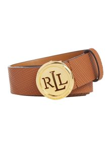 Lauren Ralph Lauren Charleston tan 1/4 saffiano plaque belt