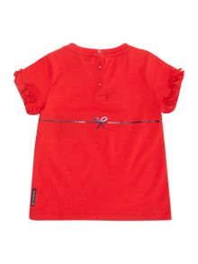 Armani Junior Girl`s Stripe Heart Logo T-shirt