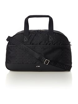 All over logo print nylon holdall bag