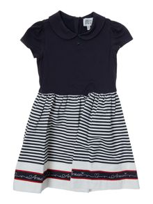 Armani Junior Girls Rounded Collar Stripe Skirt Dress