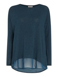 Knit and chiffon layered top