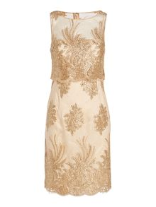 Adrianna Papell Embroidered organza shift dress with pop over