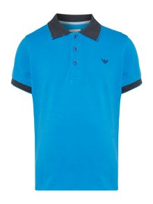 Armani Junior Boys Short Sleeve Contrast Collar Pique Polo