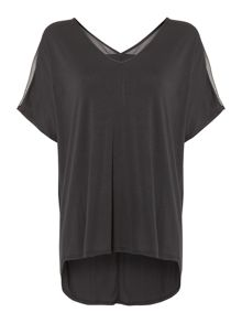 Label Lab Chiffon jersey sheer yoke vee top