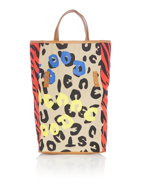 Vivienne Westwood Africa multi coloured leopard tiger shopper