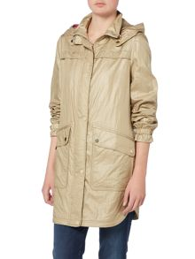 Eliza J Hooded parka coat with drawstring waist