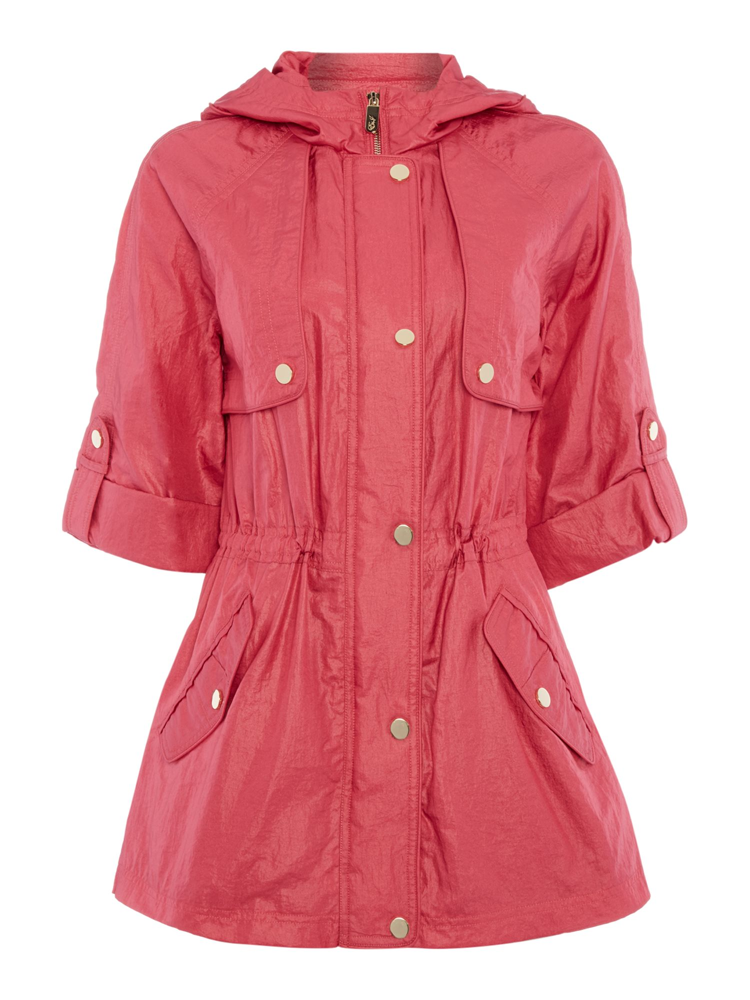 Eliza J Hooded parka coat with 34 sleeves Pink