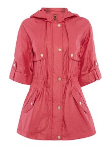 Eliza J Hooded parka coat with 3/4 sleeves