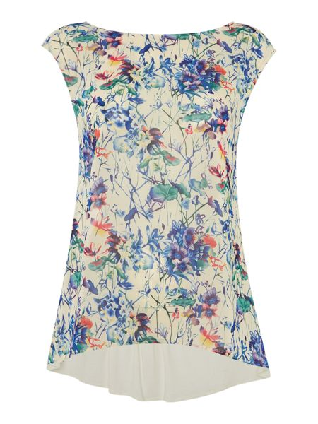 Therapy Faith Floral Print Woven and Jersey Top