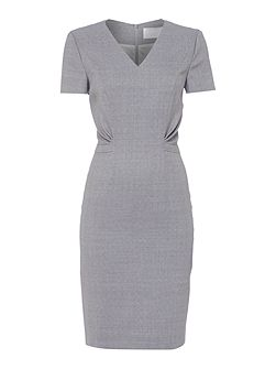 Deshina V Neck Fitted Wool Suit Dress