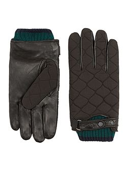 Ted Baker Quilted nylon and leather gloves