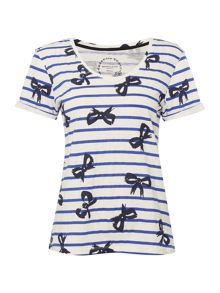Dickins & Jones Stripe Bow Print T-Shirt