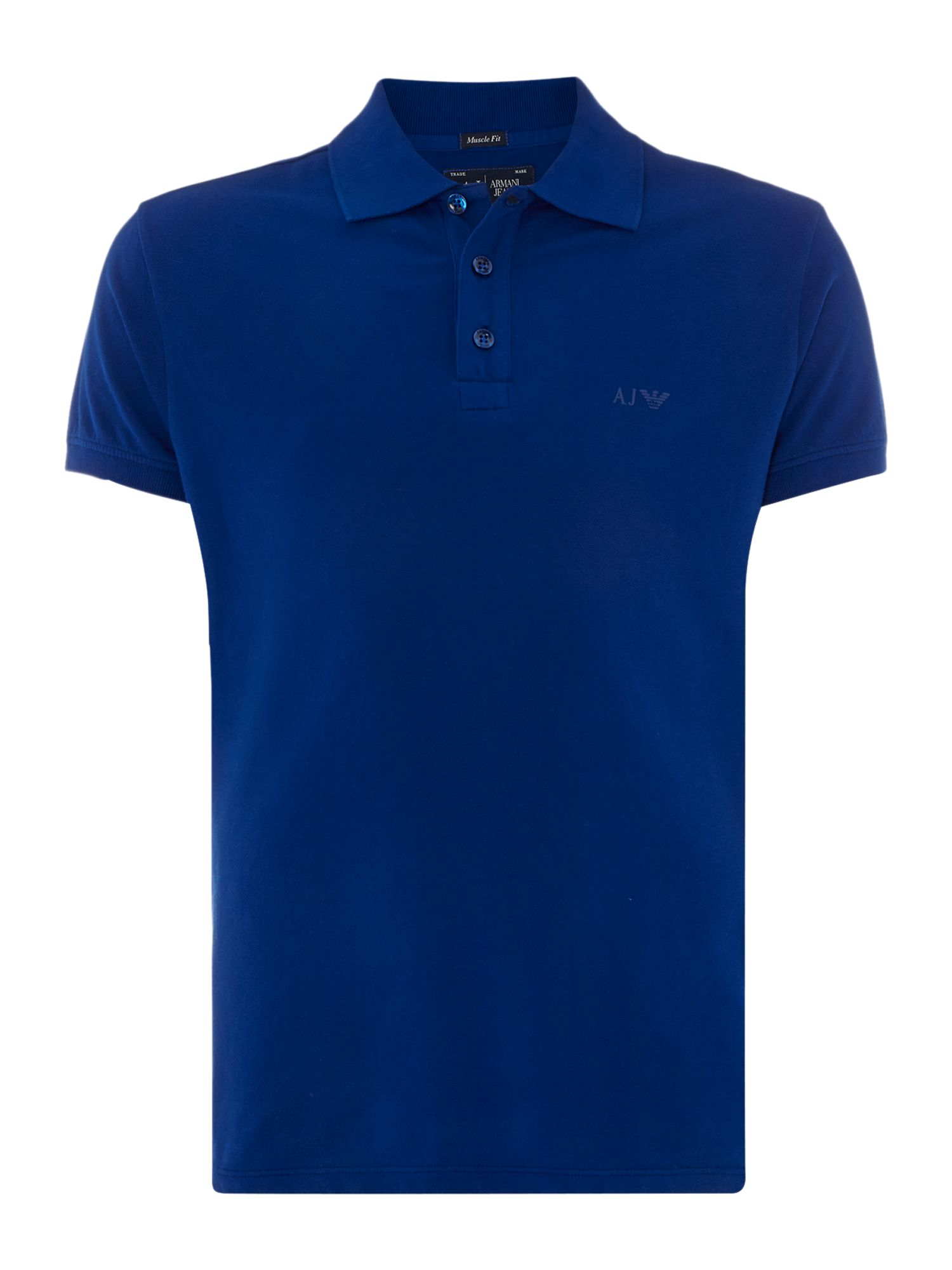 Mens Armani Jeans Muscle Fit Logo Polo Shirt Royal