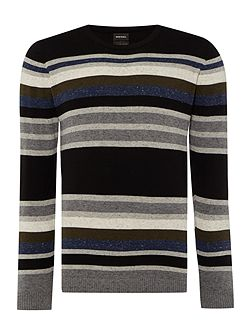 K-calib crew neck stripe knitted jumper