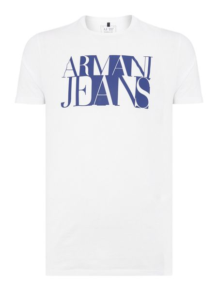 Armani Jeans Regular Fit Text Squares T Shirt