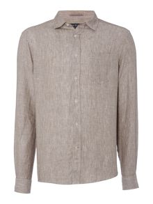 Howick Limehouse Plain Linen Long Sleeve Shirt