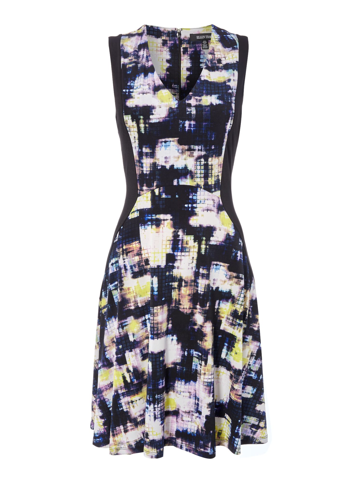 Ellen Tracy Contrast Fit And Flare Dress, Multi-coloured