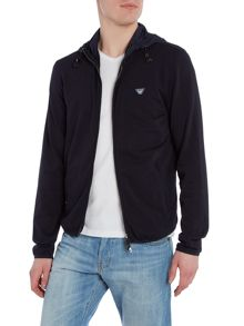 Armani Jeans Double Zip Logo Badge Zip Up Hoodie