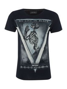 Religion Regular fit skeleton print t shirt