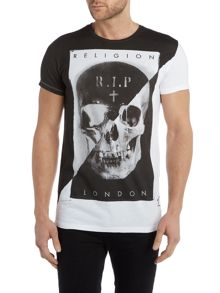 Religion Regular fit RIP skull printed t shirt
