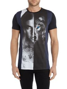 Religion Regular fit girl and wolf printed t shirt