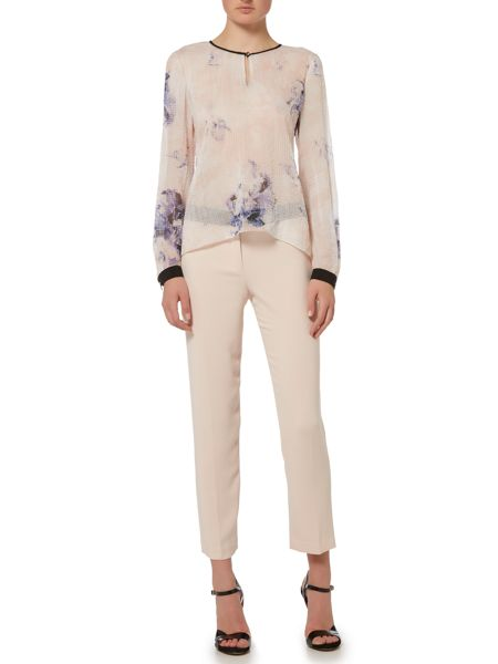 Ellen Tracy Flare blouse with key hole detail