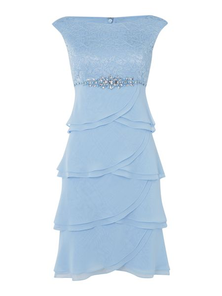 Eliza J Tiered chiffon dress with lace top