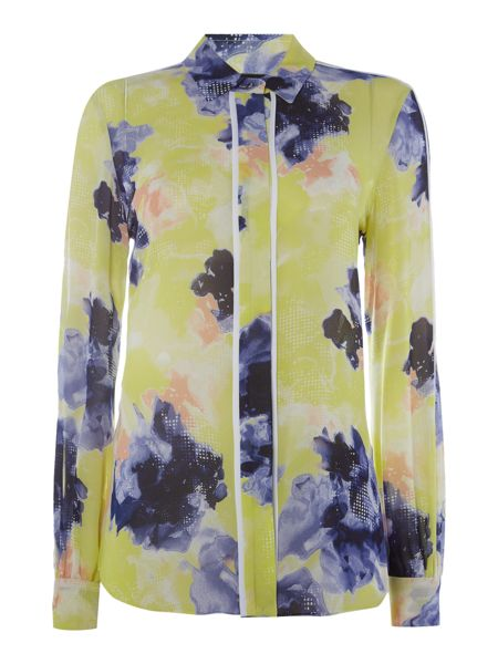 Ellen Tracy Piped button fronted blouse