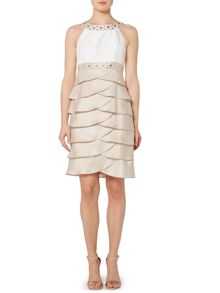 Eliza J Beaded halter neck dress with shutter skirt
