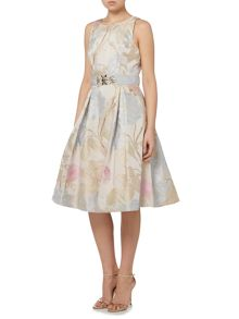 Eliza J Jacquard fit and flare midi dress