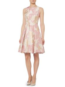 Eliza J Fit and flare dress with metallic print