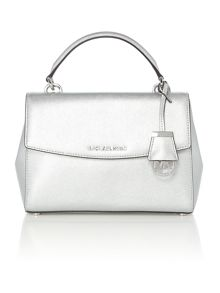 Michael Kors Ava silver small satchel bag