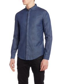 Armani Jeans Regular Fit Long Sleeve Micro Eagle Shirt