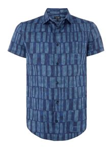 Armani Jeans Regular Fit Short Sleeve Large Shapes Print Shirt