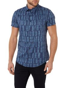 Regular Fit Short Sleeve Large Shapes Print Shirt